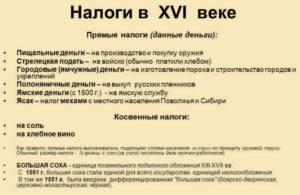 Налоги во времена Ивана IV Грозного