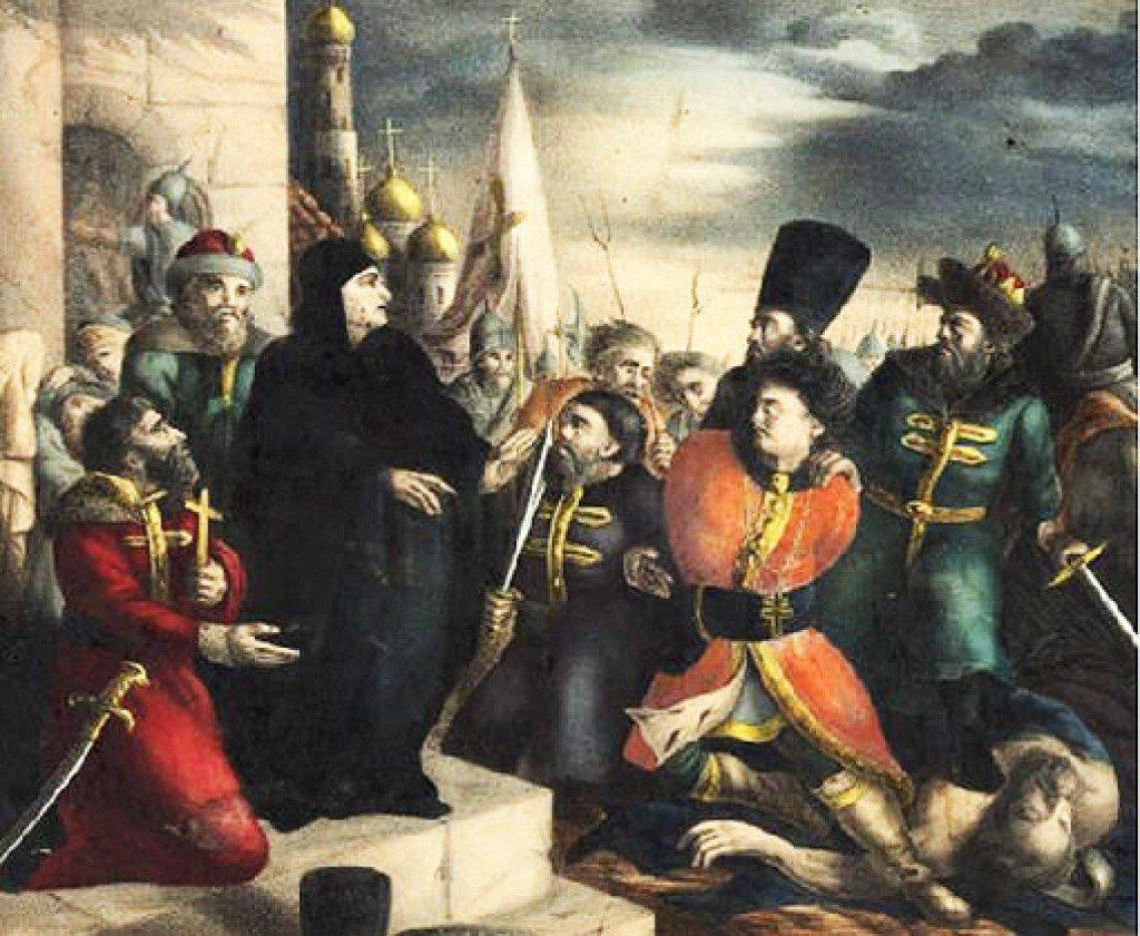 «Царица Марфа обличает Лжедмитрия». Раскрашенная литография по эскизу В. Бабушкина, середина XIX века 1580, осень — 1584, март 18