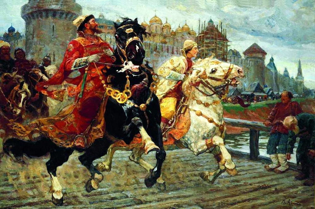 Царевич Иван Иванович на прогулке с отцом Иваном Грозным худ. Авилов М.И.
