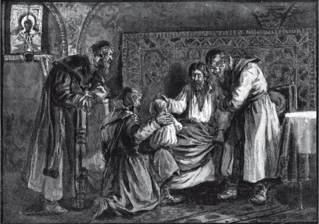 Василий III благословляет сына своего Ивана IV перед своей кончиной. С. Зейденберг, гравюра Ю. Мультановского