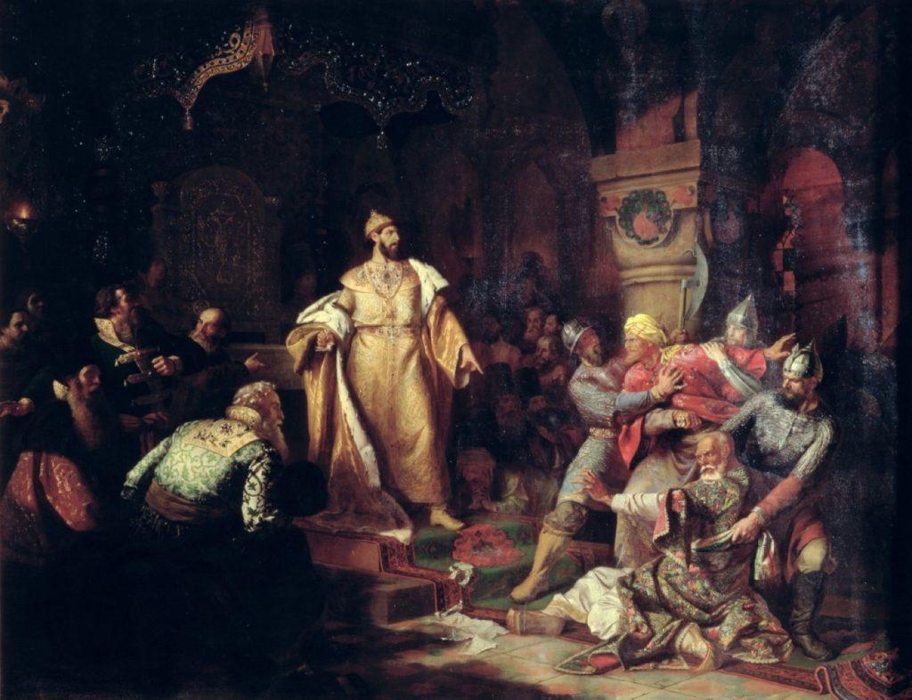 Картина Н. С. Шустова «Иван III свергает татарское иго, разорвав изображение хана