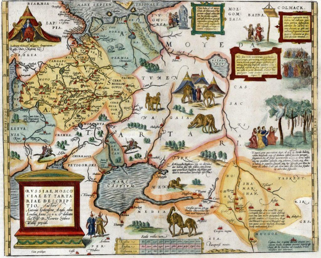 Карта России, Московии и Тартарии 1562 года работы Энтони Дженкинсона |